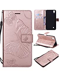 Thrion LG X Power Cubierta de la Caja del teléfono móvil de Cuero, Cubierta de la Caja de Cuero a Prueba de Golpes de Mariposa gráfica - Oro Rosa