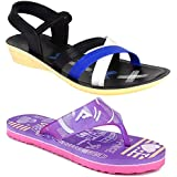 Shoefly Women Multicolour Latest Collection Stylish Sandal & Slippers-Pack of 2 (Combo-(2)-1179-969)