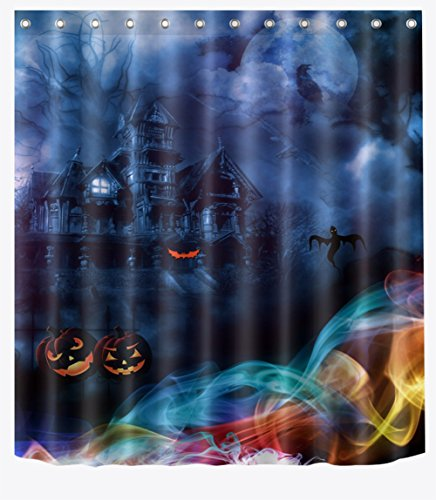 CMSU Halloween-Geisterschloss, 3D-Digitaldruck-Polyester-Bad-Vorhang, Badezimmer-Trennvorhang (180 * 180Cm, Einschließlich 12 Haken),180*180Cm (Halloween-muster Einfachheit)