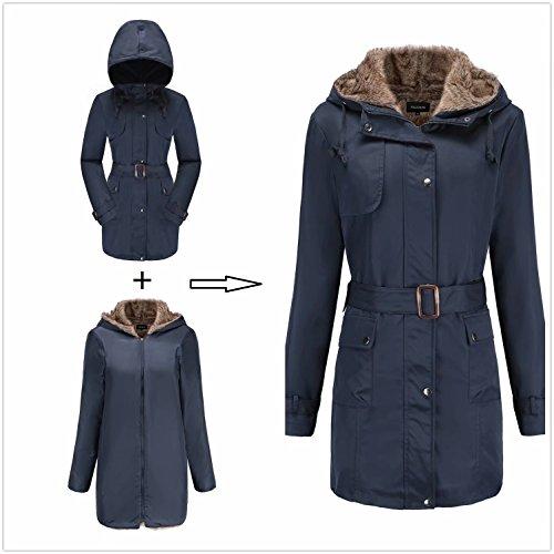 Damen Warm Trenchcoat Mit Abnehmbaren Liner Lang Daunen Mantel Kunst Fell Winter Jacke Marine DE:36 / US:XS - 2