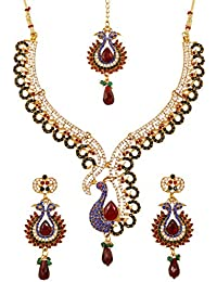 Touchstone Indian Bollywood Peacock Minakari Blue And Red Stones Bridal Jewelry Necklace Set For Women