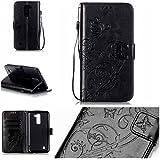 Chreey Coque LG K10 (5.3 pouces) (Solid color - papillon - impression),PU Cuir Portefeuille Etui Housse Case Cover ,carte de crédit Fentes pour ,idéal pour protéger votre téléphone