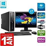 HP PC Compaq Pro 6300 SFF I7-3770 8Go 500Go Graveur DVD WiFi W7 Ecran 17'