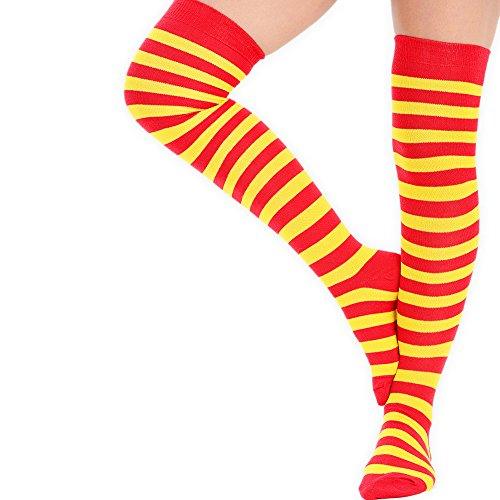Overknee-Strümpfe für Damen, komplett gestreift, Größe: 41-41,5 Gelb und Rot (Socken Hot Rosa Knie-hohe)