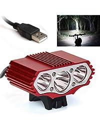 About1988 LED Fahrradlicht Set, Warnung Taschenlampe 12000 Lumen 3 x XML T6 Taschenlampe StVZO Zugelassen IPX-7 Wasserdicht Sicheres Fahrradlampe,4 Licht-Modi Fahrradlichter Camping Wandern (Rot)