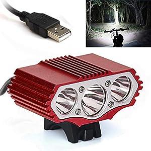 About1988 LED Fahrradlicht Set, Warnung Taschenlampe 12000 Lumen 3 x XML T6 Taschenlampe StVZO Zugelassen IPX-7 Wasserdicht Sicheres Fahrradlampe,4 Licht-Modi Fahrradlichter Camping Wandern
