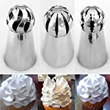 #6: SYGA 3 pcs Cake Decorating Supplies New Sphere Ball Tips Russian Icing Piping Nozzles Tips Pastry Cupcake