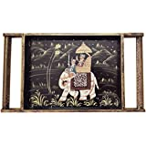 SAARTHI Rajasthani Antique Colourful Multipurpose Unique Decorative Traditional Wooden Handmade Elephant Sawari Serving Tray With Curved Handles Decorative Platter | Dry Fruit Box| Home | Table| Room Decor Showpiece| Figurine Kitchenware Accessories|Livin