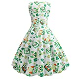Culater Vestido Modern Fashion St. Patrick's Day Elegant Clover Evening Print Party Party Dresses Womenswear Verde XL