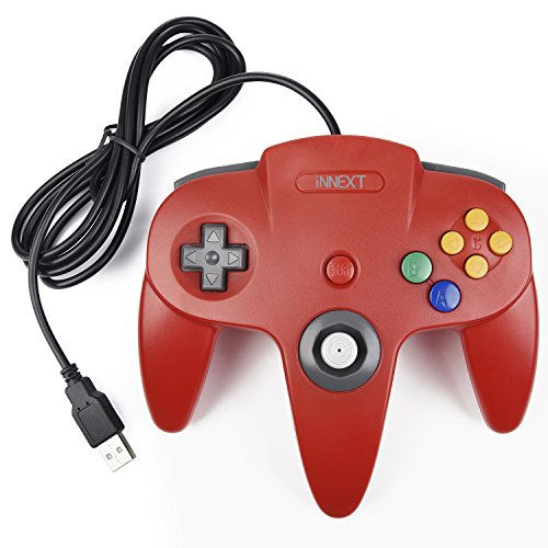 iNNEXT Manette N64 Controller Gamepad,Manette de Jeu console 64 N64 USB Gamepad Joystick pour Windows PC Mac (Rouge 1 Pack)