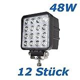 12 x 48W LED Offroad Arbeitsscheinwerfer 3800 Lumen weiß 12V 24V Flutlicht Reflektor worklight Scheinwerfer Arbeitslicht SUV UTV ATV Arbeitslampe - Traktor - Bagger