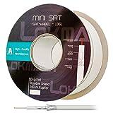 HB Digital 100m Koaxial SAT Kabel Reines KU Kupfer Klasse A Weiß extra dünn 4,6mm Ø A class Koax Kabel Antennenkabel 100dB 2-fach geschirmt für DVB-S / S2 DVB-C und DVB-T BK Anlagen