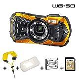 Ricoh WG-50 orange, wasserdicht, Kit mit Schwimmgurt, Silikonschutzhülle, 32 GB SD, zweitem Akku -