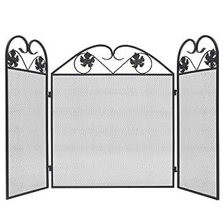 Tidyard Plegable Panacea 3 Paneles de Hierro Pantalla de Chimenea Salvachispas Protector de Chimenea para Niños Barrera de Seguridad para Niños 102x61cm Negro