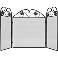 vidaXL Pantalla de chimenea de hierro negra 3 paneles accesorio de estufa salvachispas
