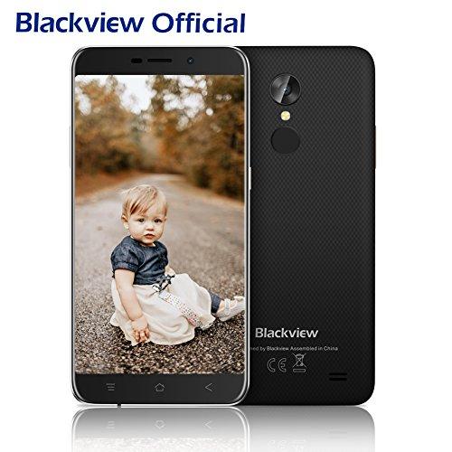Günstiges Smartphone, Blackview A10 2GB RAM + ROM 16GB Dual SIM Handy 5.0 Zoll HD IPS Touch Display Andorid Smartphone, 5MP + 8MP Cameras Android 7.0 mit 2800 mAh Battery, Fingerabdruck Handy-Schwarz