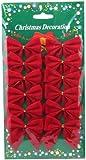 Christmas Decorations Red 12 mini 60mm 6cm Rim Velvet Xmas Ribbon Bows Ornaments
