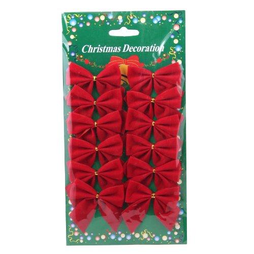 Generic Christmas Decorations Red 12 mini 60mm 6cm Rim Velvet Xmas Ribbon Bows Ornaments