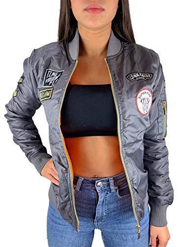 Worldclassca Damen Bomber Jacke MIT Army MILITÄR Patches ÜBERGANGSJACKE Bomberjacke Blouson Piloten Jacke Fliegerjacke Blogger Clubwear...