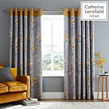 Catherine Lansfield Canterbury Eyelet Curtains 66x54 Inch Ochre