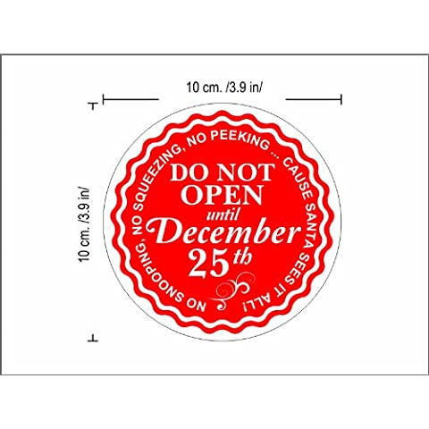 Do not open until CHRISTMAS etichette natalizie 12 pcs