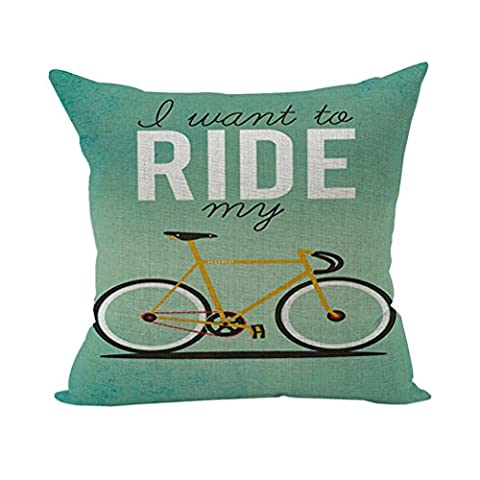 Nunubee Sofa Cotton Linen Home Square Pillow Decorative Throw Pillow Case Cushion Cover Ride