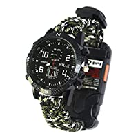 Ananjin Multifunction Outdoor Emergency Survival Watch, Small Torch Infrared Light Purple Clock, Compass Mountain Watch Green 1