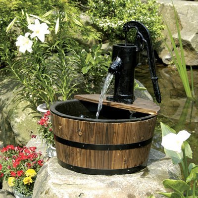 Aqua Moda Solar 180LPH Newcastle Wooden Barrel With Pump Garden Water Feature
