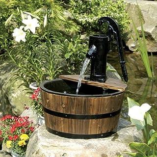 Aqua Moda Solar 180LPH Newcastle Wooden Barrel With Pump Garden Water Feature