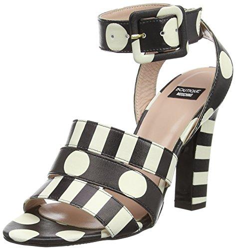 MOSCHINO Spot Ankle Strap, Sandales femme Noir - Black (Blk/White)