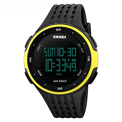 Amstt Unisex Sportuhren Damen Herren Uhren Männer Wasserdicht Digital LED Armbanduhr Leuchtende Nacht Silikon Digital Uhr Automatik Kalender Outdoor Armbanduhren (Gelb)