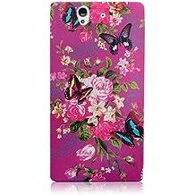 Xtra-Funky Exclusivo silicona suave púrpura floral de la flor y de las mariposas carcasas para Sony Xperia Z - Diseño B30