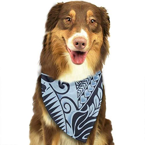 nxnx Dog Bandana Polynesian Tattoo Tapa Designs in Blue Printed Pet Triangle Scarf Festive Accessory for Puppies -