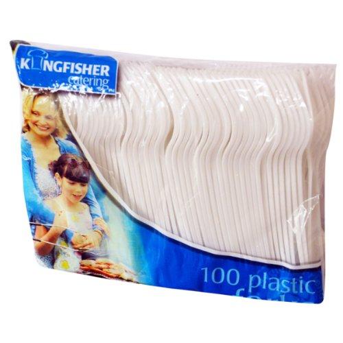 Kingfisher fourchettes jetables en Plastique, Blanc, Lot de 100