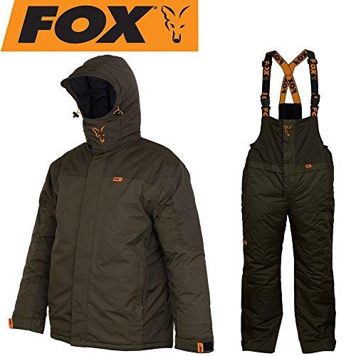 Fox Carp Winter Suit - Thermoanzug für Karpfenangler, Schneeanzug für Angler, Winteranzug zum Angeln im Winter, Thermo Zweiteiler, Größe:XL