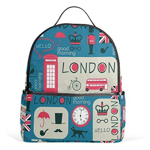 CPYang Schulrucksack London Bus Union Jack College Schultertasche Casual Daypack Reiserucksack für Mädchen Jungen Damen Herren -