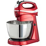 VonShef Twin 300W Hand and Stand Mixer with 5 Speeds & Turbo Function includes 3.5L Bowl, 2x Beaters, 2x Dough Hooks & Whisk - Red