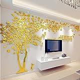 DIY 3D Riesiger Baum Paar Wandtattoos Wandaufkleber Kristall Acryl Malen Wanddeko Wandkunst (XL, Golden, Recht)