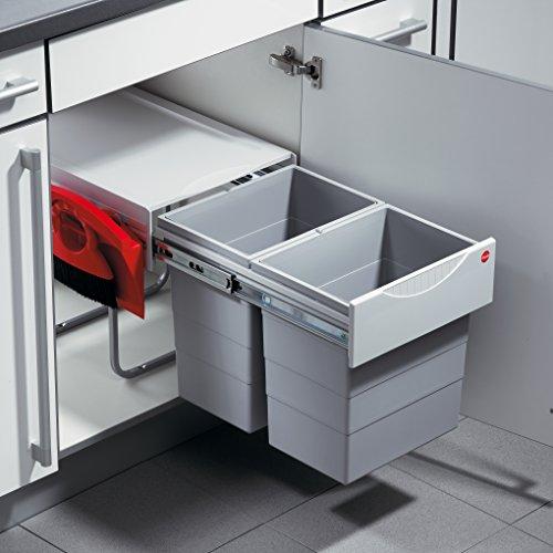 Hailo Raumspar Tandem Küchen-Abfalleimer, Kunststoff hellgrau, Grau, One Size
