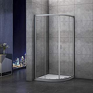 Aica Bathrooms 900x900mm Quadrant Enclosure 6mm Safety Glass Sliding Shower Cubicle Door, aluminum Electrophoresis White