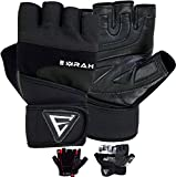 EMRAH Gym Weight Lifting Gloves Leather Workout Fitness Crossfit Bodybuilding Powerlifting Breathable Wrist Support Strength Training Exercise