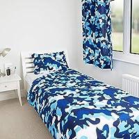 Zappi Co Blue Camouflage Camo Design Kids Boys Girls Bedroom Duvet Cover Bedding Set (Toddler)