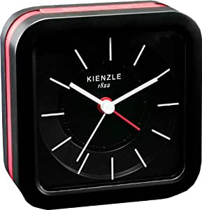 kienzle unisex wecker analog quartz lautlos led beleuchtung schwarz rote streifen a 00445. Black Bedroom Furniture Sets. Home Design Ideas