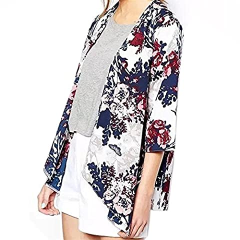 Blumen Kimono, Sondereu Cardigan Damen Boho Batwing Bluse Bedruckte Hemd Jacke Blazer Dünne Klage mit 3/4 Ärmel Schal Casual Lose Sommer
