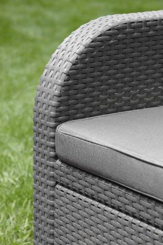 Allibert Lounge Set Garten, Modena, Grau, 4-teiliges Lounge Set Polyrattan, bequeme Lounge Balkonmöbel -