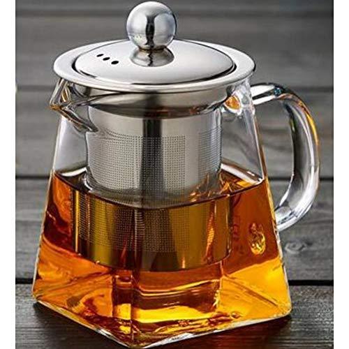 NGCSH Teekanne 350 Ml 550 Ml 750 Ml Glas-Sqaure-Teekanne Hochtemperatur-Hitzebeständige Glasteekanne Mit Teekannenfilter Milchblume Teekanne (Für Kaffee Blueberry-geschmack)