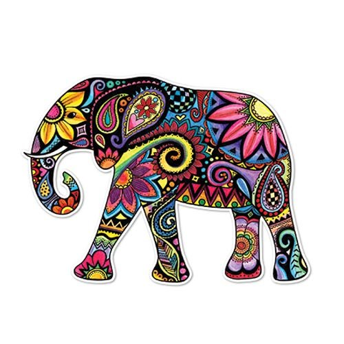 meganjdesigns Elefant Auto Aufkleber Colorful Design Vinyl Multicolor Laptop Aufkleber Auto Vinyl-aufkleber Bunt