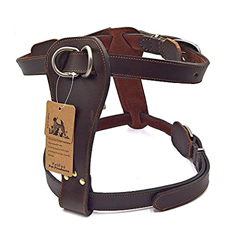 PetFun Dog Exclusive Genuine Leather Adjustable Harness for Attack/Protection Training and Daily