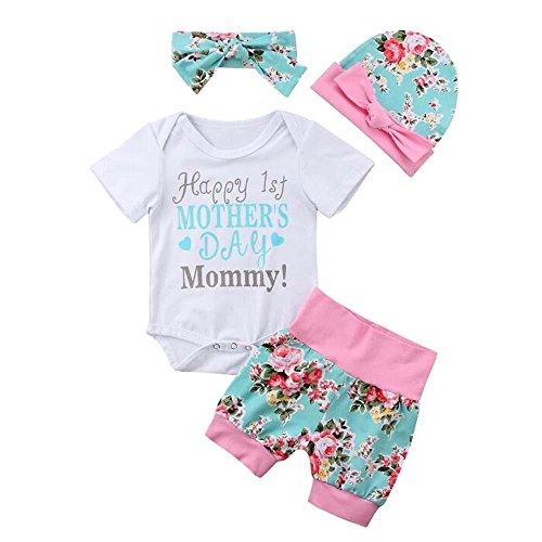 et Baby Promotion Baby Born Sommer Kleidung Set Mädchen Kleiderset 4Pcs/Set Strampler Overall Hemd Top+ Kurze Hose Stirnband Hut Outfits (Weiß #1, 0-3 Monate) ()