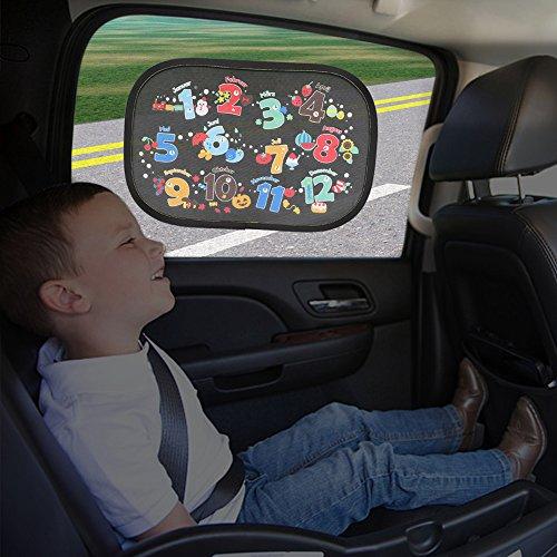 IntiPal Selbsthaftende Sonnenblenden Sonnenschutz Auto Baby Kinder 2er Pack (26 Deutsche Buchstaben und 12 Monate)